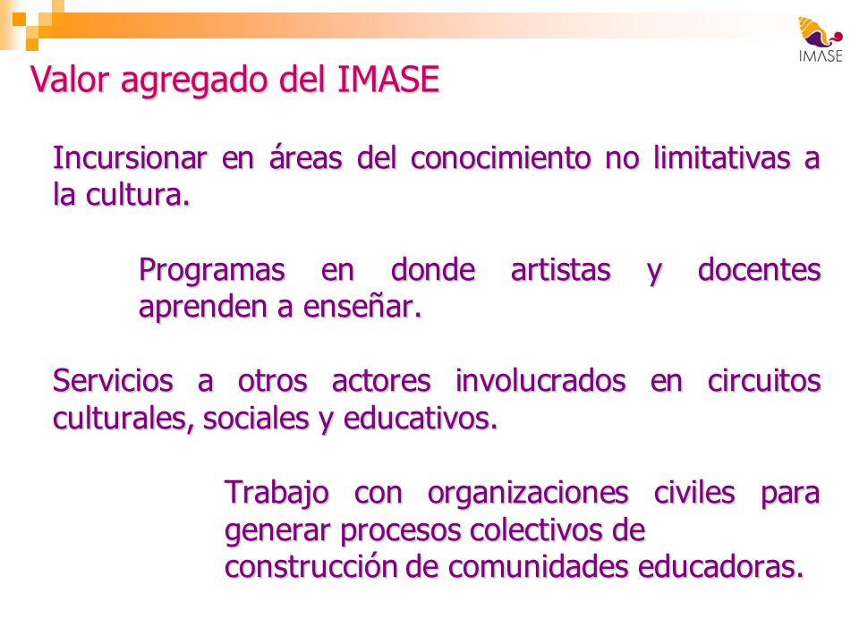 Incursionar en áreas del conocimiento no limitativas a la cultura. Programas en donde artistas y docentes aprenden a enseñar. Servicios a otros actore