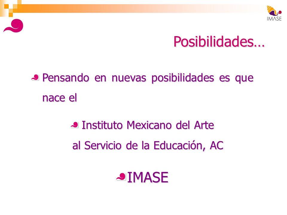 Posibilidades… Pensando en nuevas posibilidades es que nace el Instituto Mexicano del Arte al Servicio de la Educación, AC IMASE