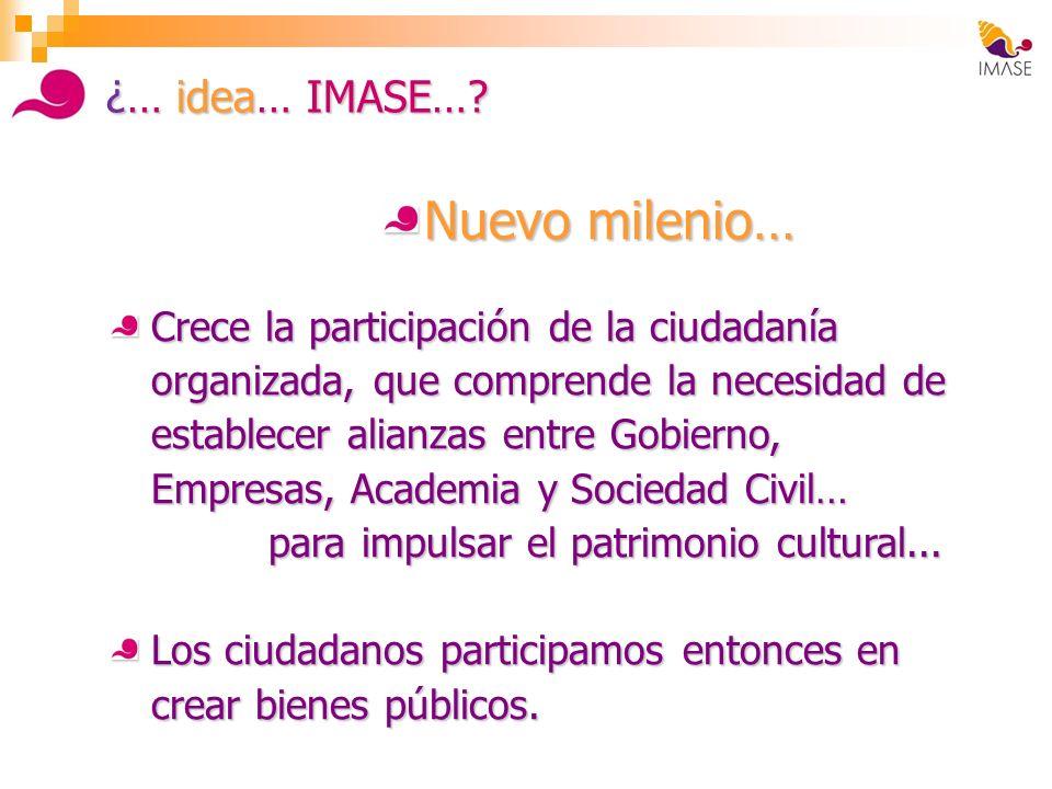 ¿… idea… IMASE…? Nuevo milenio… Crece la participación de la ciudadanía organizada, que comprende la necesidad de establecer alianzas entre Gobierno,
