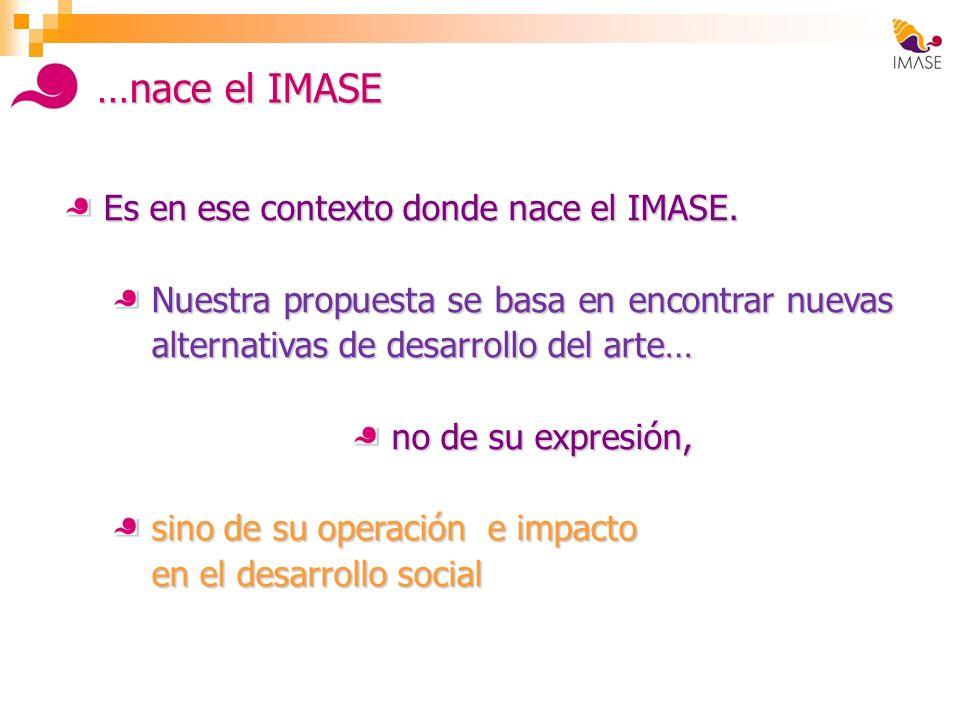 …nace el IMASE Es en ese contexto donde nace el IMASE. Nuestra propuesta se basa en encontrar nuevas alternativas de desarrollo del arte… no de su exp