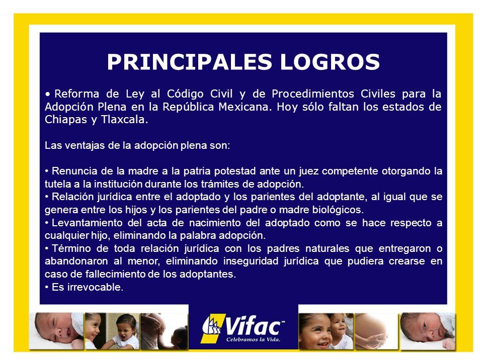 PRINCIPALES LOGROS Reforma de Ley al Código Civil y de Procedimientos Civiles para la Adopción Plena en la República Mexicana. Hoy sólo faltan los est