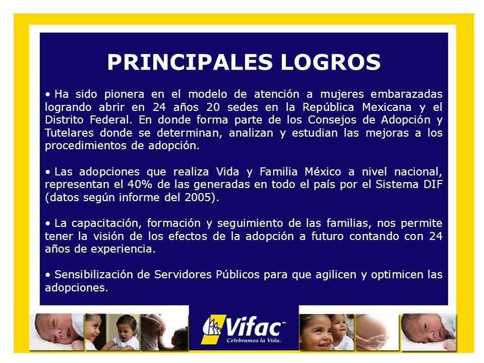 PRINCIPALES LOGROS Ha sido pionera en el modelo de atención a mujeres embarazadas logrando abrir en 24 años 20 sedes en la República Mexicana y el Dis