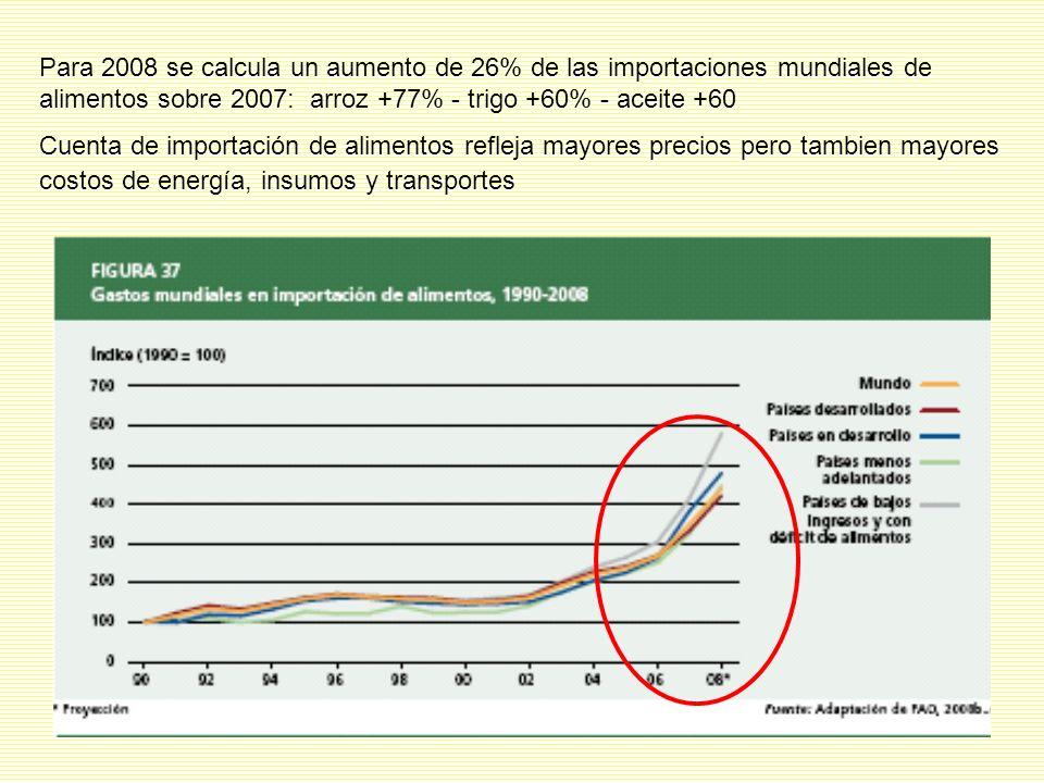 Para 2008 se calcula un aumento de 26% de las importaciones mundiales de alimentos sobre 2007: arroz +77% - trigo +60% - aceite +60 Cuenta de importación de alimentos refleja mayores precios pero tambien mayores costos de energía, insumos y transportes