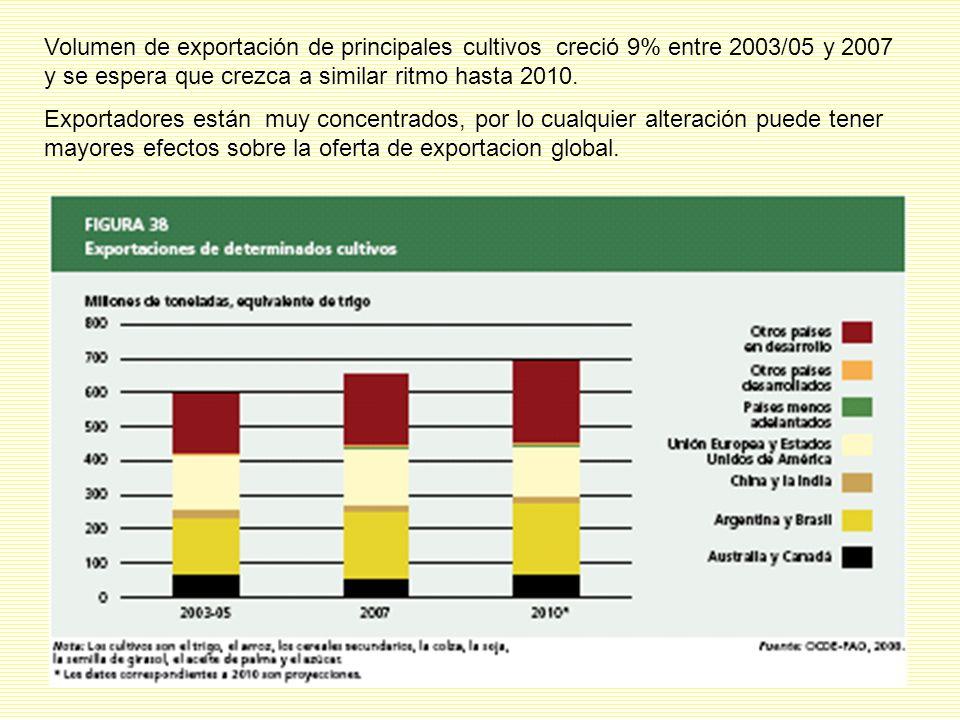 Volumen de exportación de principales cultivos creció 9% entre 2003/05 y 2007 y se espera que crezca a similar ritmo hasta 2010.