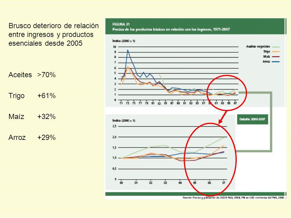 Brusco deterioro de relación entre ingresos y productos esenciales desde 2005 Aceites>70% Trigo+61% Maíz+32% Arroz+29%
