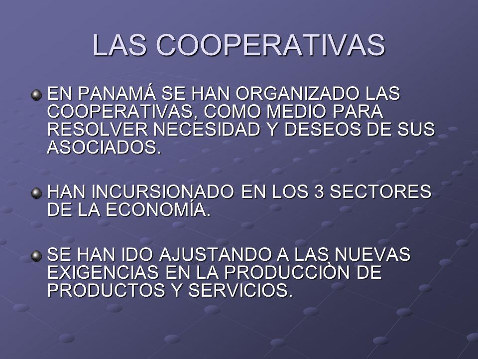 LAS COOPERATIVAS EN PANAMÁ SE HAN ORGANIZADO LAS COOPERATIVAS, COMO MEDIO PARA RESOLVER NECESIDAD Y DESEOS DE SUS ASOCIADOS. HAN INCURSIONADO EN LOS 3