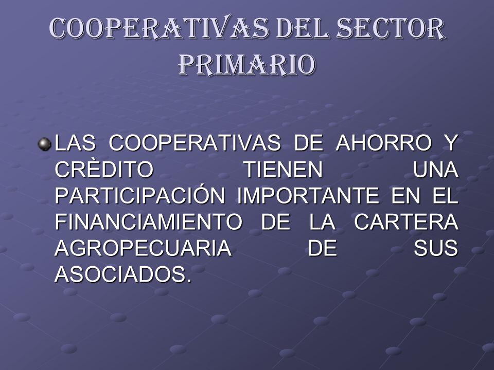 LAS COOPERATIVAS DE AHORRO Y CRÈDITO TIENEN UNA PARTICIPACIÓN IMPORTANTE EN EL FINANCIAMIENTO DE LA CARTERA AGROPECUARIA DE SUS ASOCIADOS. COOPERATIVA