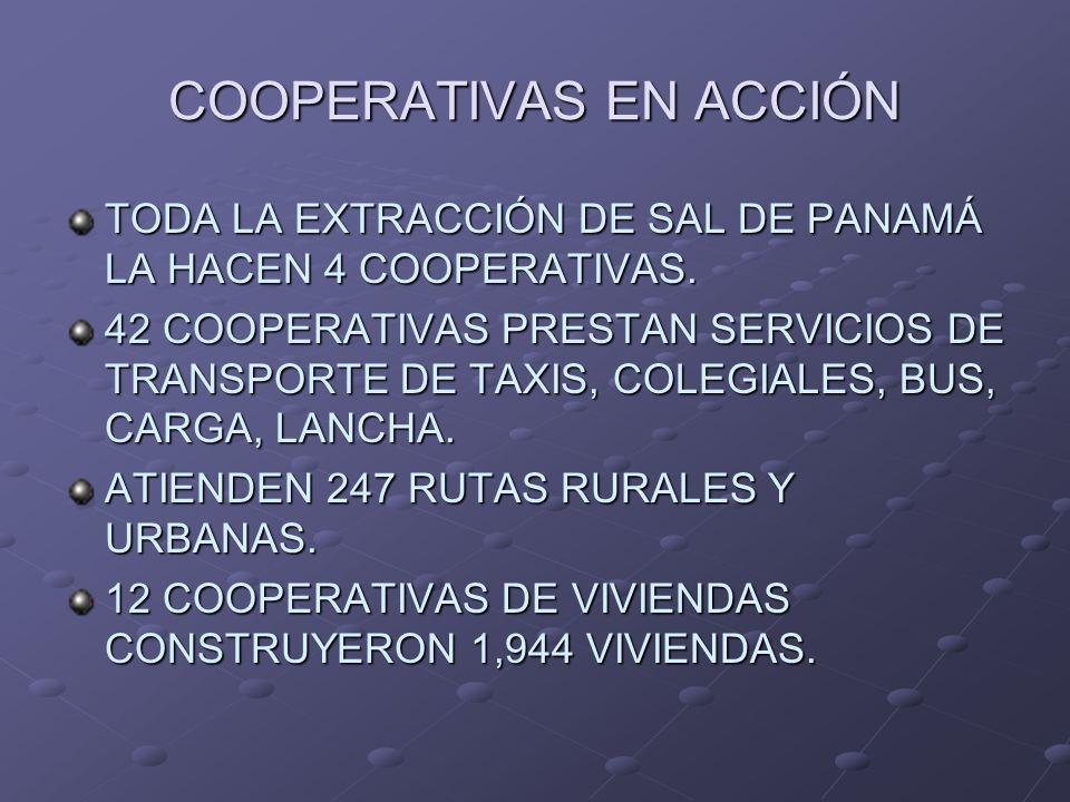 COOPERATIVAS EN ACCIÓN TODA LA EXTRACCIÓN DE SAL DE PANAMÁ LA HACEN 4 COOPERATIVAS. 42 COOPERATIVAS PRESTAN SERVICIOS DE TRANSPORTE DE TAXIS, COLEGIAL