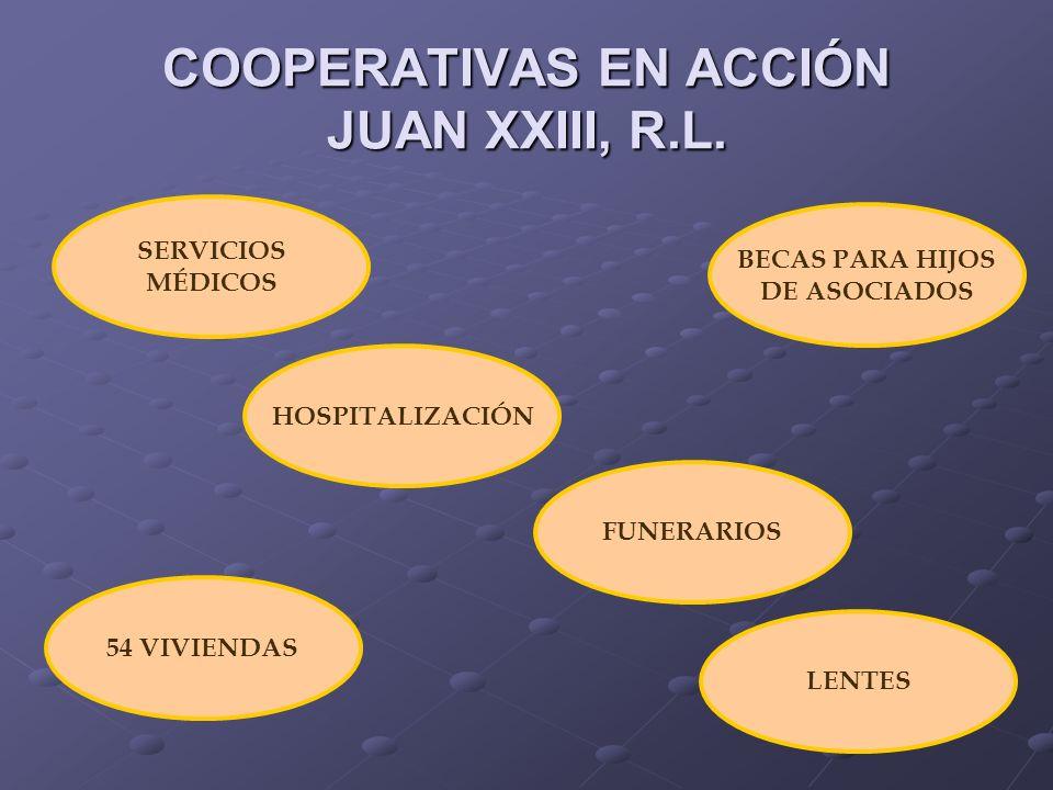 COOPERATIVAS EN ACCIÓN JUAN XXIII, R.L. HOSPITALIZACIÓN SERVICIOS MÉDICOS FUNERARIOS LENTES 54 VIVIENDAS BECAS PARA HIJOS DE ASOCIADOS