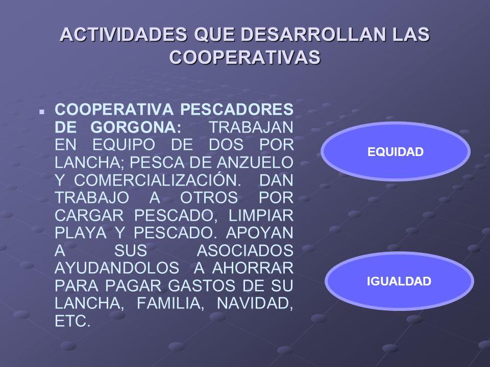ACTIVIDADES QUE DESARROLLAN LAS COOPERATIVAS COOPERATIVA PESCADORES DE GORGONA: TRABAJAN EN EQUIPO DE DOS POR LANCHA; PESCA DE ANZUELO Y COMERCIALIZAC
