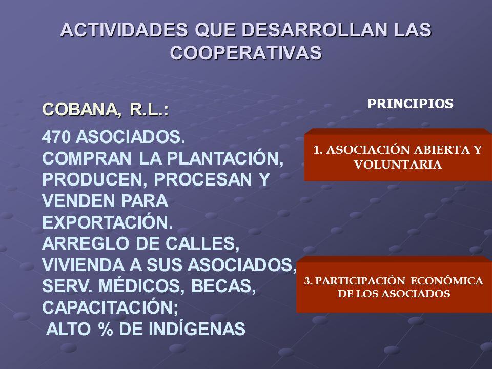 ACTIVIDADES QUE DESARROLLAN LAS COOPERATIVAS 1. ASOCIACIÓN ABIERTA Y VOLUNTARIA 3. PARTICIPACIÓN ECONÓMICA DE LOS ASOCIADOS PRINCIPIOS COBANA, R.L.: 4