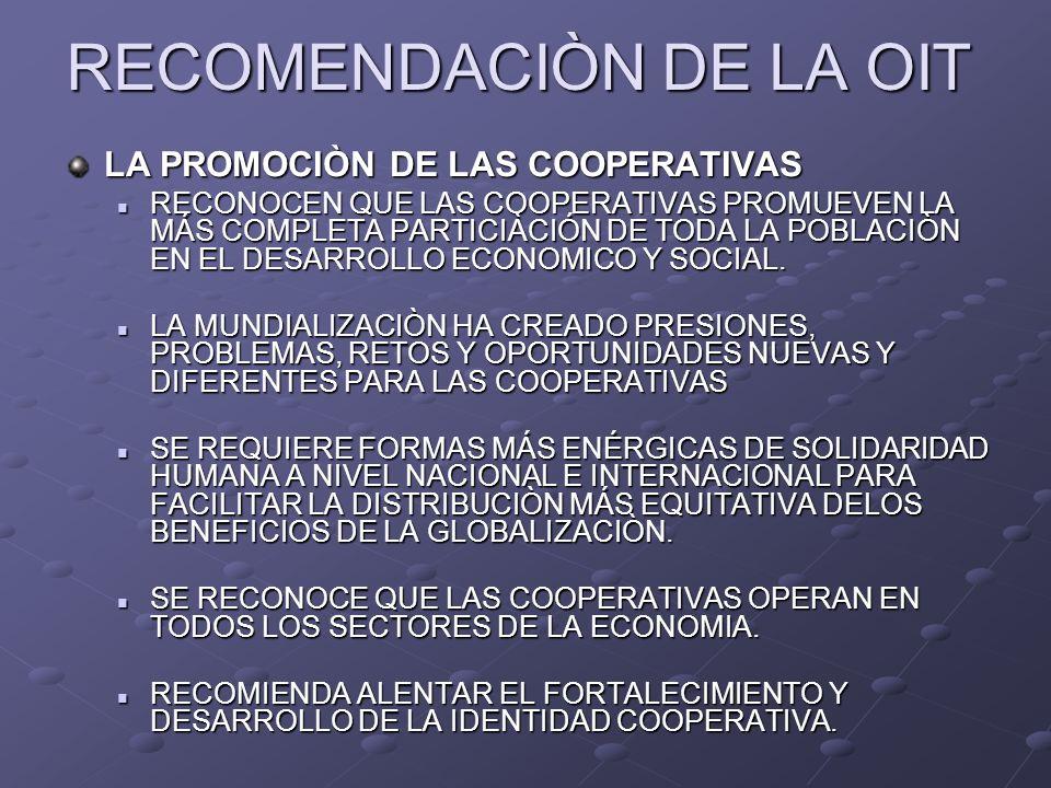 RECOMENDACIÒN DE LA OIT LA PROMOCIÒN DE LAS COOPERATIVAS RECONOCEN QUE LAS COOPERATIVAS PROMUEVEN LA MÁS COMPLETA PARTICIÀCIÓN DE TODA LA POBLACIÒN EN