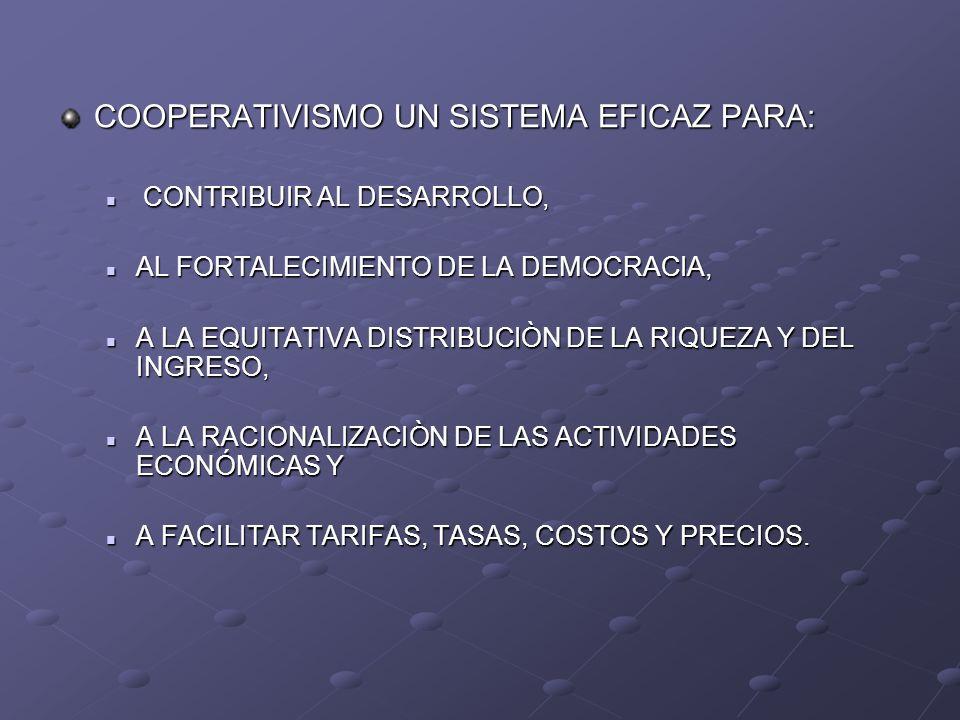 COOPERATIVISMO UN SISTEMA EFICAZ PARA: CONTRIBUIR AL DESARROLLO, CONTRIBUIR AL DESARROLLO, AL FORTALECIMIENTO DE LA DEMOCRACIA, AL FORTALECIMIENTO DE
