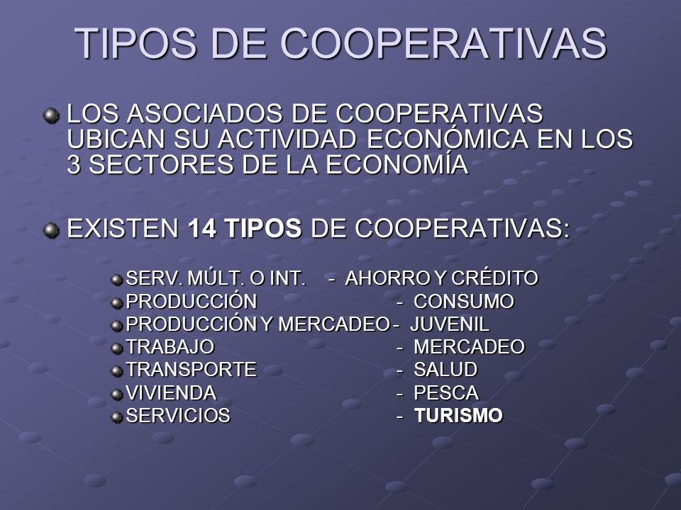 TIPOS DE COOPERATIVAS LOS ASOCIADOS DE COOPERATIVAS UBICAN SU ACTIVIDAD ECONÓMICA EN LOS 3 SECTORES DE LA ECONOMÍA EXISTEN 14 TIPOS DE COOPERATIVAS: S