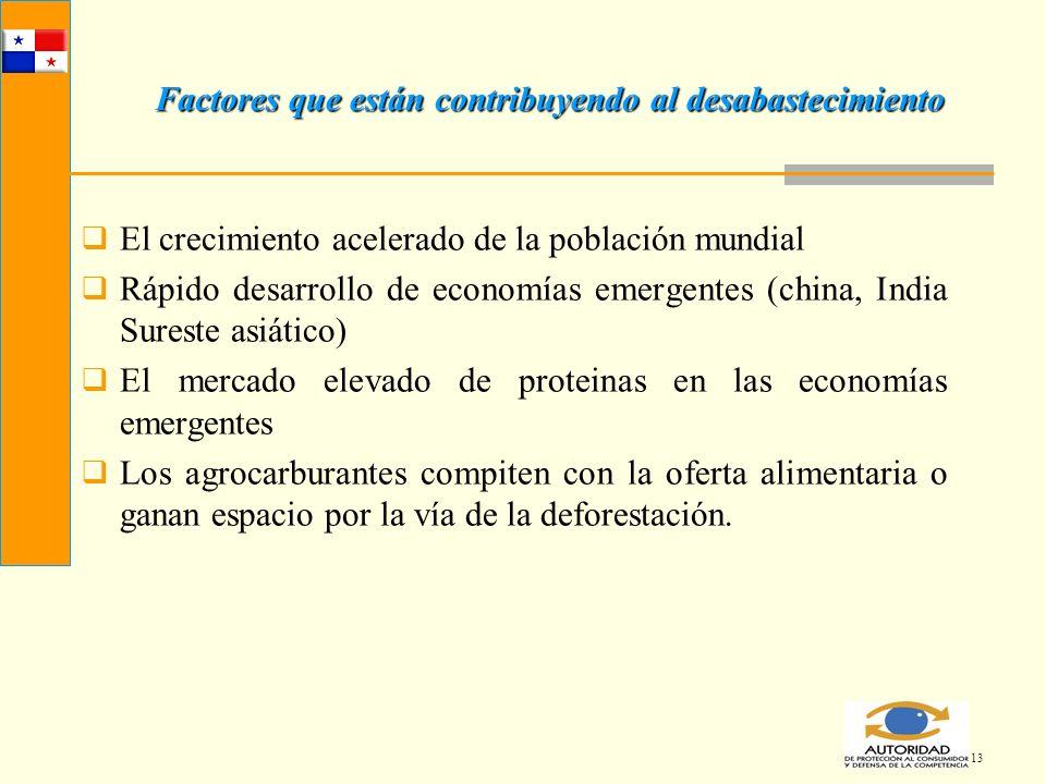 13 Factores que están contribuyendo al desabastecimiento El crecimiento acelerado de la población mundial Rápido desarrollo de economías emergentes (c