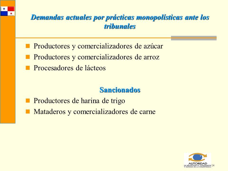 14 Demandas actuales por prácticas monopolísticas ante los tribunales Productores y comercializadores de azúcar Productores y comercializadores de arr