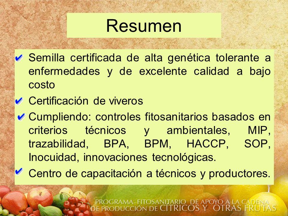 Resumen Semilla certificada de alta genética tolerante a enfermedades y de excelente calidad a bajo costo Certificación de viveros Cumpliendo: control