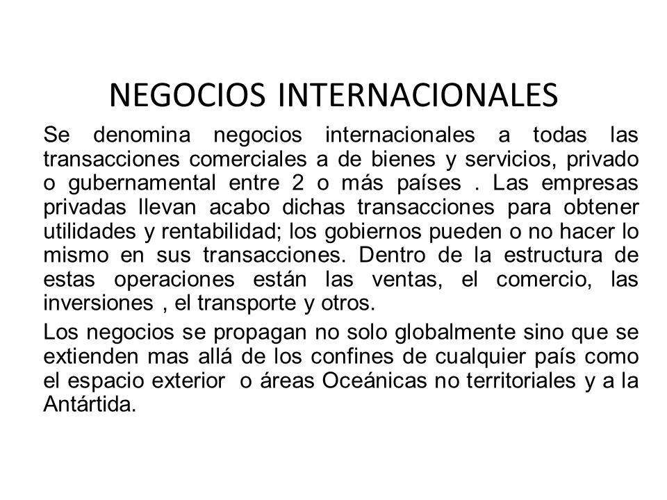 NEGOCIOS INTERNACIONALES Se denomina negocios internacionales a todas las transacciones comerciales a de bienes y servicios, privado o gubernamental e