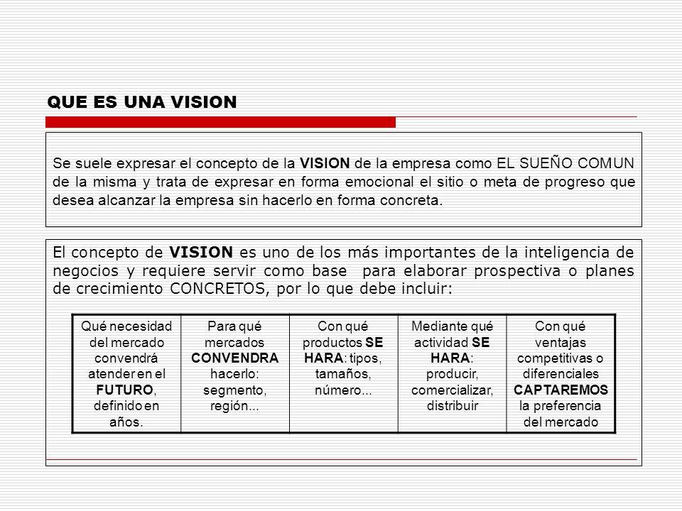 QUE ES UNA VISION Se suele expresar el concepto de la VISION de la empresa como EL SUEÑO COMUN de la misma y trata de expresar en forma emocional el s
