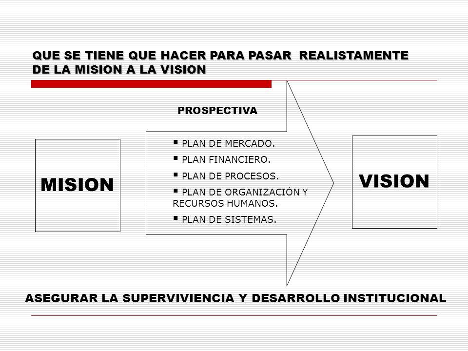 QUE SE TIENE QUE HACER PARA PASAR REALISTAMENTE DE LA MISION A LA VISION MISION PLAN DE MERCADO. PLAN FINANCIERO. PLAN DE PROCESOS. PLAN DE ORGANIZACI