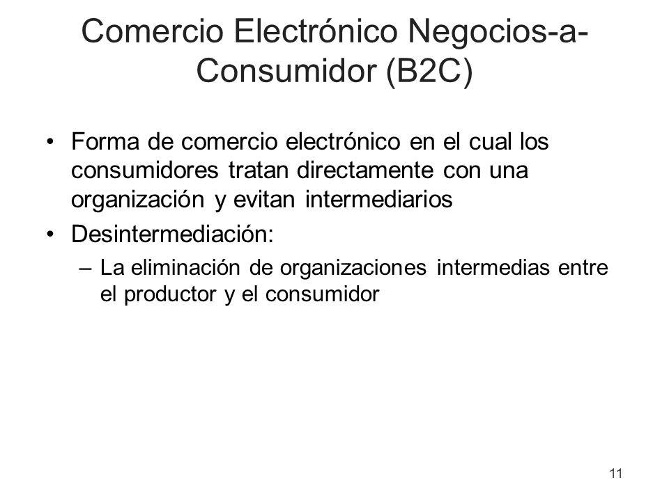 11 Comercio Electrónico Negocios-a- Consumidor (B2C) Forma de comercio electrónico en el cual los consumidores tratan directamente con una organización y evitan intermediarios Desintermediación: –La eliminación de organizaciones intermedias entre el productor y el consumidor