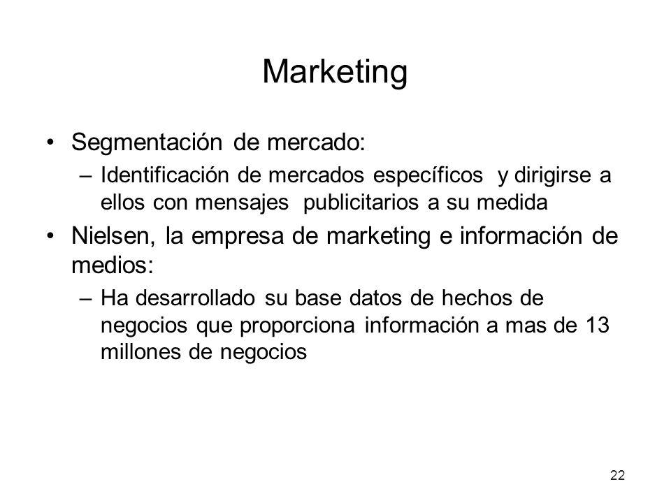 22 Marketing Segmentación de mercado: –Identificación de mercados específicos y dirigirse a ellos con mensajes publicitarios a su medida Nielsen, la empresa de marketing e información de medios: –Ha desarrollado su base datos de hechos de negocios que proporciona información a mas de 13 millones de negocios