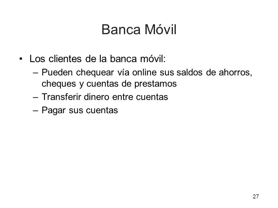 Banca Móvil Los clientes de la banca móvil: –Pueden chequear vía online sus saldos de ahorros, cheques y cuentas de prestamos –Transferir dinero entre cuentas –Pagar sus cuentas 27