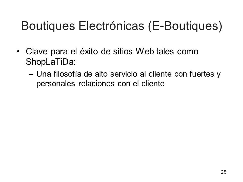 Boutiques Electrónicas (E-Boutiques) Clave para el éxito de sitios Web tales como ShopLaTiDa: –Una filosofía de alto servicio al cliente con fuertes y personales relaciones con el cliente 28