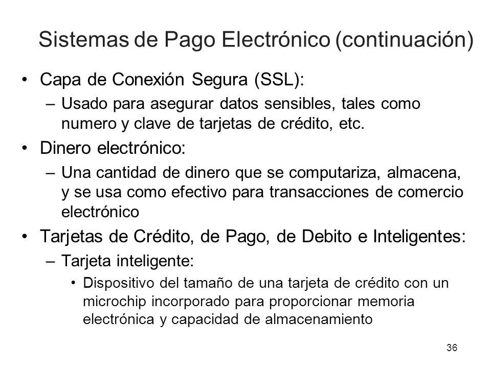 Sistemas de Pago Electrónico (continuación) Capa de Conexión Segura (SSL): –Usado para asegurar datos sensibles, tales como numero y clave de tarjetas de crédito, etc.