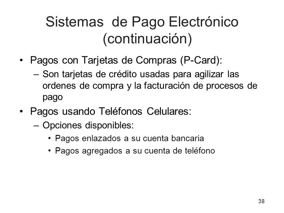 Sistemas de Pago Electrónico (continuación) Pagos con Tarjetas de Compras (P-Card): –Son tarjetas de crédito usadas para agilizar las ordenes de compra y la facturación de procesos de pago Pagos usando Teléfonos Celulares: –Opciones disponibles: Pagos enlazados a su cuenta bancaria Pagos agregados a su cuenta de teléfono 38