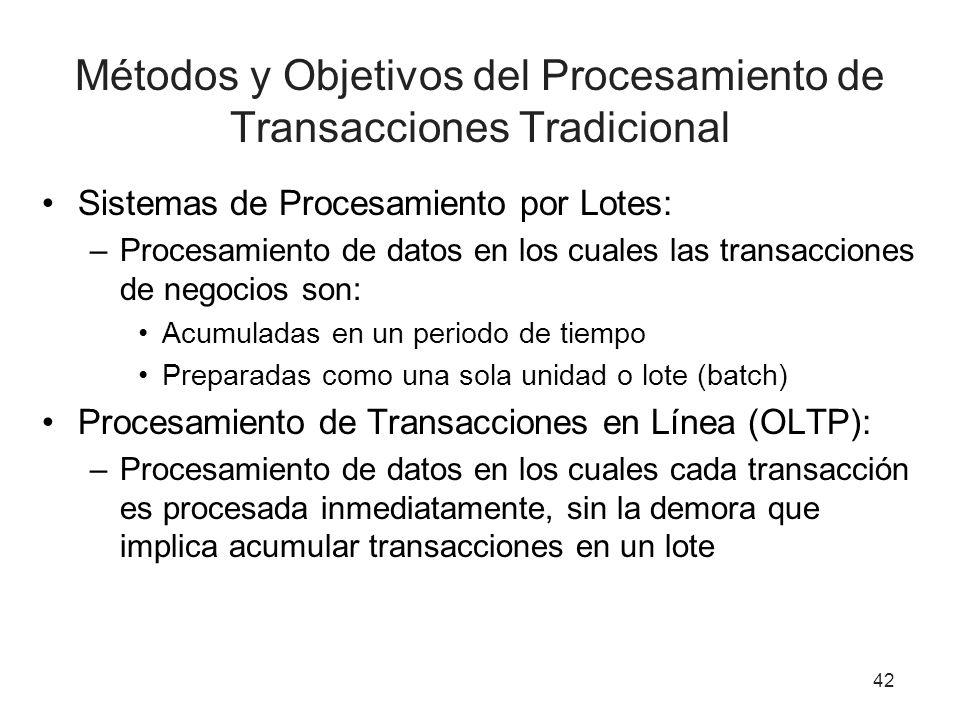 42 Métodos y Objetivos del Procesamiento de Transacciones Tradicional Sistemas de Procesamiento por Lotes: –Procesamiento de datos en los cuales las transacciones de negocios son: Acumuladas en un periodo de tiempo Preparadas como una sola unidad o lote (batch) Procesamiento de Transacciones en Línea (OLTP): –Procesamiento de datos en los cuales cada transacción es procesada inmediatamente, sin la demora que implica acumular transacciones en un lote