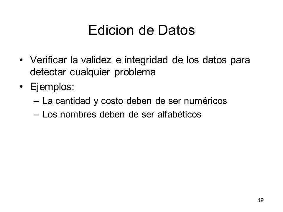49 Edicion de Datos Verificar la validez e integridad de los datos para detectar cualquier problema Ejemplos: –La cantidad y costo deben de ser numéricos –Los nombres deben de ser alfabéticos