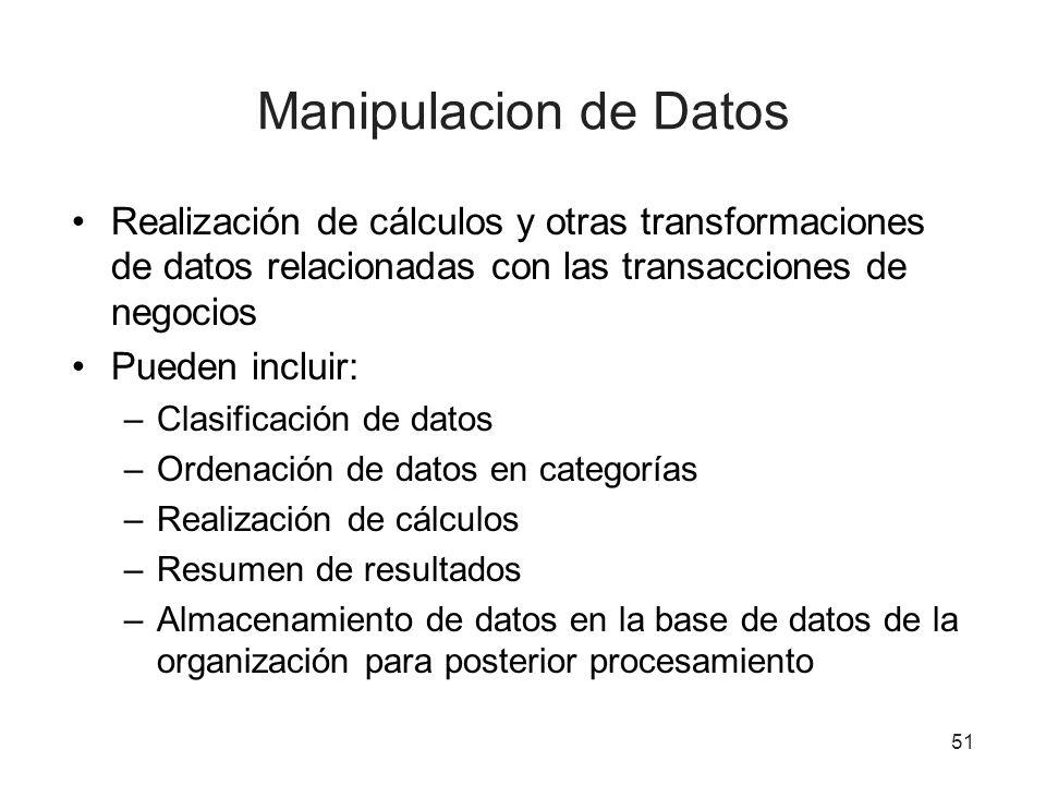51 Manipulacion de Datos Realización de cálculos y otras transformaciones de datos relacionadas con las transacciones de negocios Pueden incluir: –Clasificación de datos –Ordenación de datos en categorías –Realización de cálculos –Resumen de resultados –Almacenamiento de datos en la base de datos de la organización para posterior procesamiento