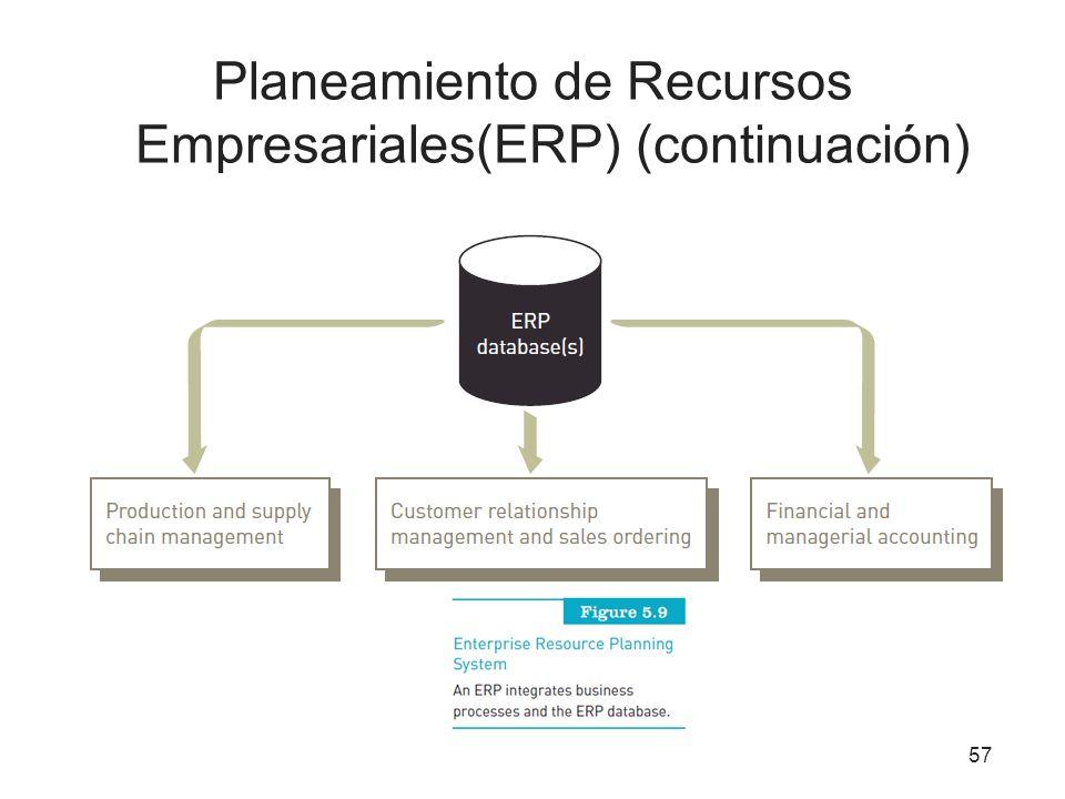 Planeamiento de Recursos Empresariales(ERP) (continuación) 57
