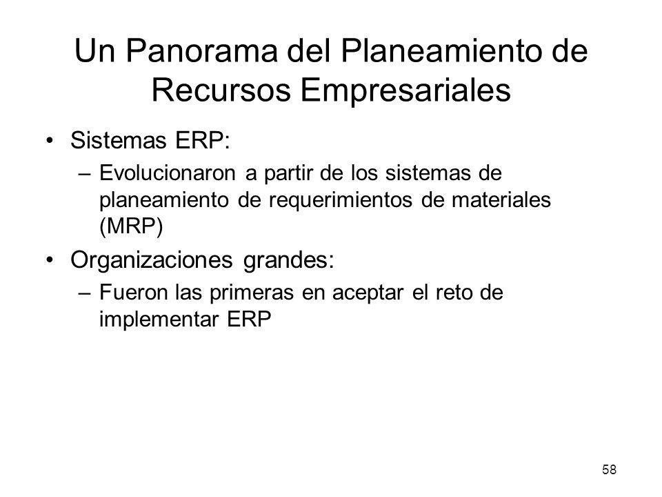 58 Un Panorama del Planeamiento de Recursos Empresariales Sistemas ERP: –Evolucionaron a partir de los sistemas de planeamiento de requerimientos de materiales (MRP) Organizaciones grandes: –Fueron las primeras en aceptar el reto de implementar ERP