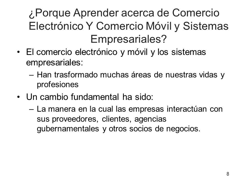 ¿Porque Aprender acerca de Comercio Electrónico Y Comercio Móvil y Sistemas Empresariales.