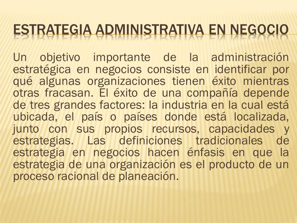 Un objetivo importante de la administración estratégica en negocios consiste en identificar por qué algunas organizaciones tienen éxito mientras otras
