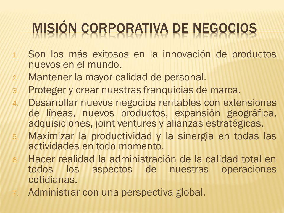 1. Son los más exitosos en la innovación de productos nuevos en el mundo. 2. Mantener la mayor calidad de personal. 3. Proteger y crear nuestras franq