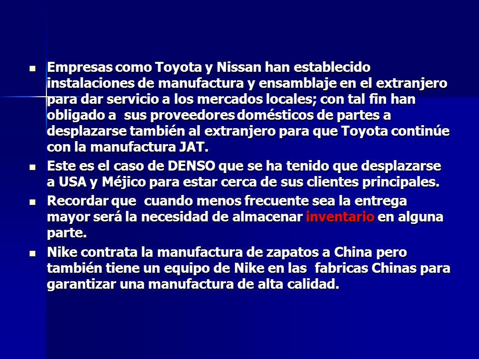Empresas como Toyota y Nissan han establecido instalaciones de manufactura y ensamblaje en el extranjero para dar servicio a los mercados locales; con