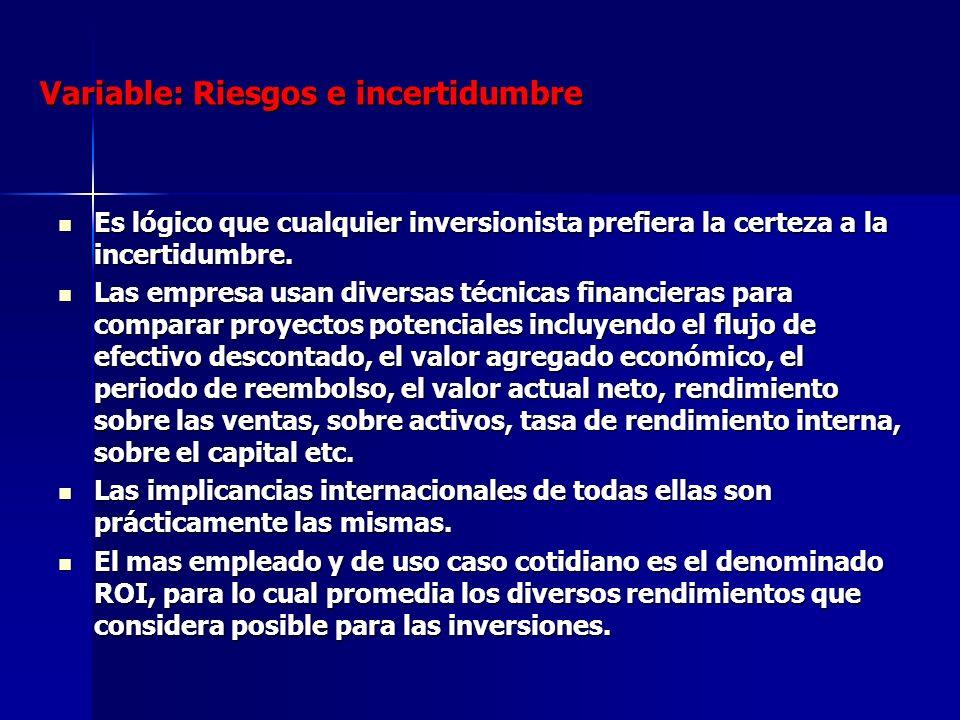 Variable: Riesgos e incertidumbre Es lógico que cualquier inversionista prefiera la certeza a la incertidumbre. Es lógico que cualquier inversionista