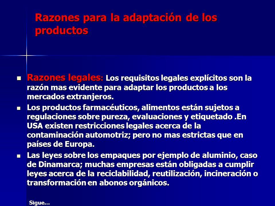 Razones para la adaptación de los productos Razones legales : Los requisitos legales explícitos son la razón mas evidente para adaptar los productos a