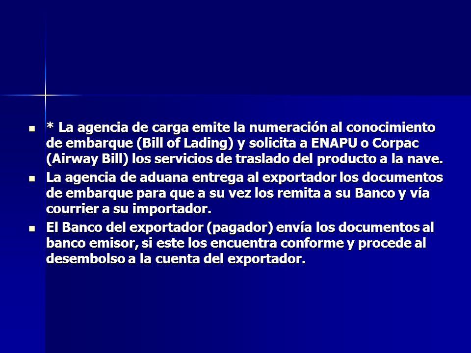 * La agencia de carga emite la numeración al conocimiento de embarque (Bill of Lading) y solicita a ENAPU o Corpac (Airway Bill) los servicios de tras