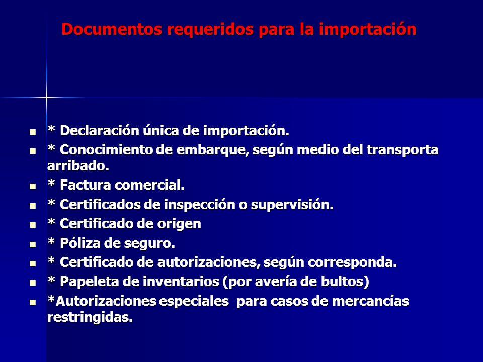 Documentos requeridos para la importación * Declaración única de importación. * Declaración única de importación. * Conocimiento de embarque, según me