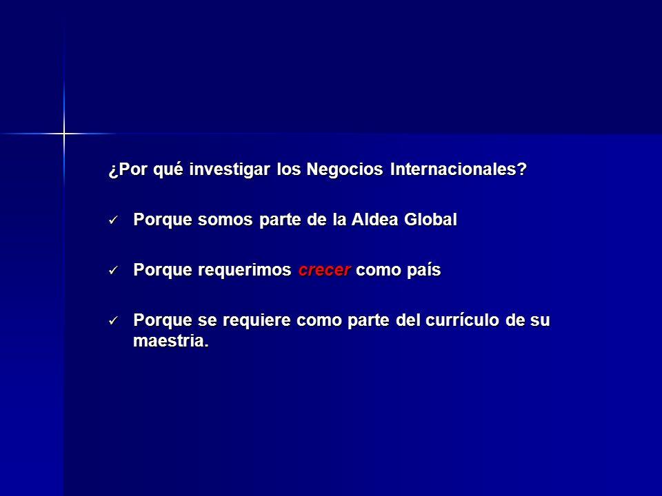 ¿Por qué investigar los Negocios Internacionales? Porque somos parte de la Aldea Global Porque somos parte de la Aldea Global Porque requerimos crecer