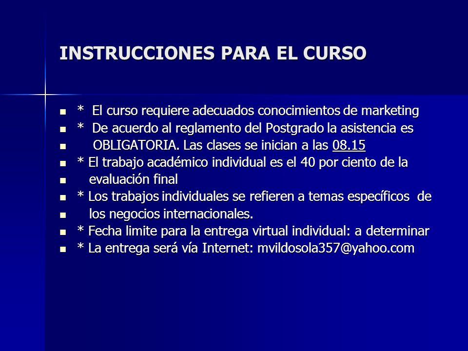 INSTRUCCIONES PARA EL CURSO * El curso requiere adecuados conocimientos de marketing * El curso requiere adecuados conocimientos de marketing * De acu
