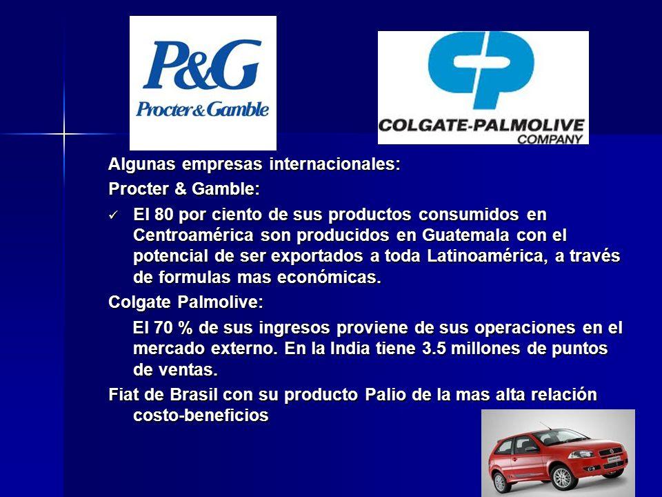 Algunas empresas internacionales: Procter & Gamble: El 80 por ciento de sus productos consumidos en Centroamérica son producidos en Guatemala con el p