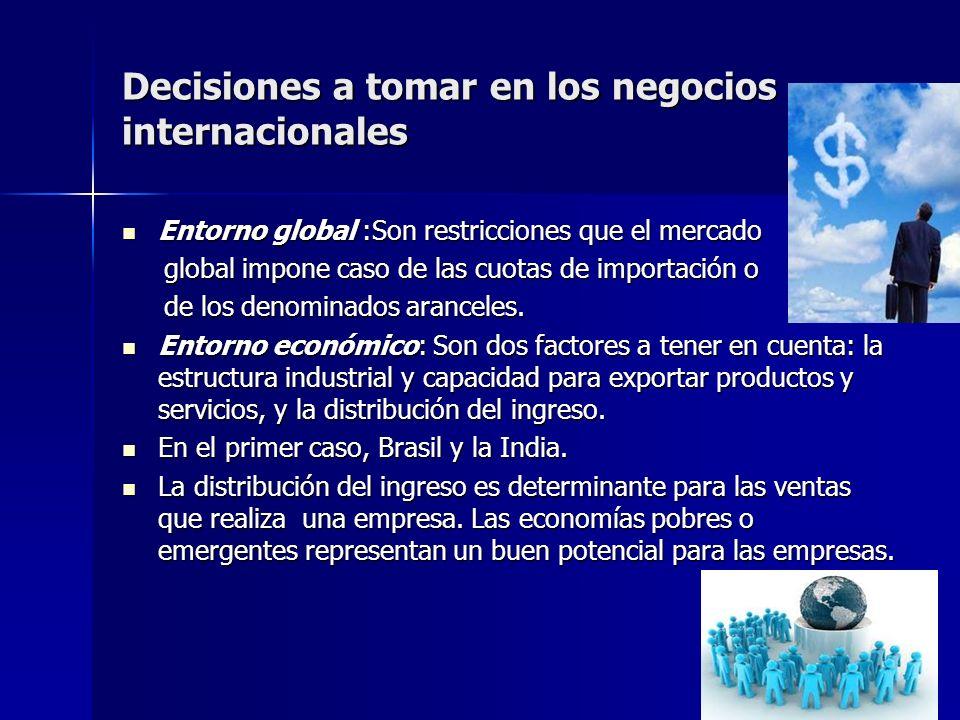 Decisiones a tomar en los negocios internacionales Entorno global :Son restricciones que el mercado Entorno global :Son restricciones que el mercado g