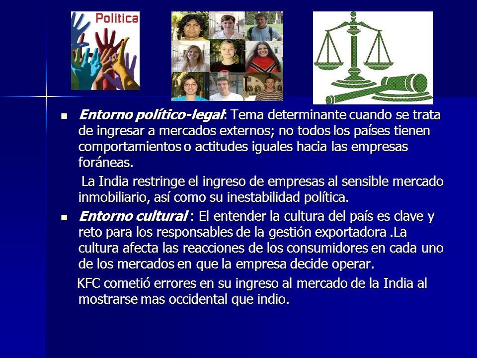 Entorno político-legal: Tema determinante cuando se trata de ingresar a mercados externos; no todos los países tienen comportamientos o actitudes igua