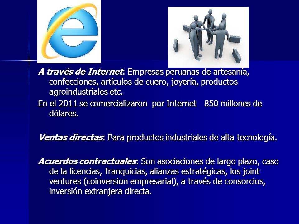 A través de Internet: Empresas peruanas de artesanía, confecciones, artículos de cuero, joyería, productos agroindustriales etc. En el 2011 se comerci