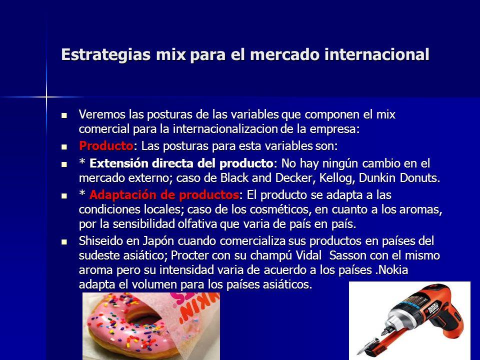 Estrategias mix para el mercado internacional Veremos las posturas de las variables que componen el mix comercial para la internacionalizacion de la e